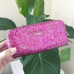 KATE SPADE Pink Glitter Cosmetic Pouch